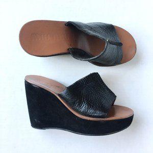 MIU MIU Suede Leather Wedge Mules Clog - size 37.5